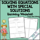 Solving Linear Equations Discovery Worksheet & Card Sort (Special Solutions)