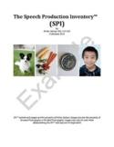 The Speech Production Inventory (TM)SPI: Articulation Test/Articulation Screener
