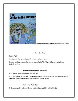 The Spider in the Shower for Guided Reading
