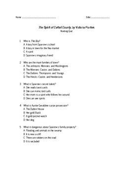The Spirit of Cattail County Reading Quiz
