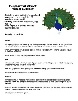 The Spooky Tail of Prewitt Peacock  Vocabulary Word Work