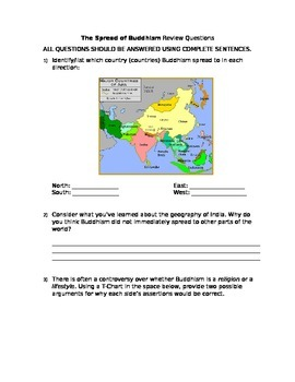 The Spread of Buddhism Review Questions-Free Response