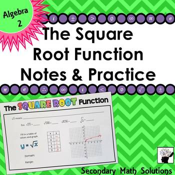 The Square Root Function Foldable Notes & Practice (2A.2A, 2A.4C)