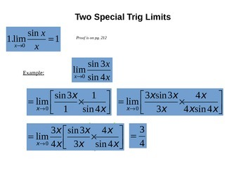 The Squeeze (Sandwich) Theorem and Special Trig Limits