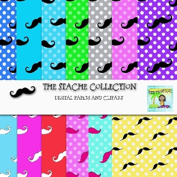 The Stache Collection-Digital Papers and Clip Art Bundle