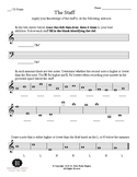 The Staff: Worksheet over the musical staff