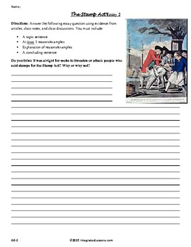 The Stamp Act Essay - Grades 6-8