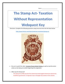The Stamp Act- Taxation Without Representation- Webquest and Video with Key