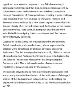 The Stamp Act of 1765 Handout