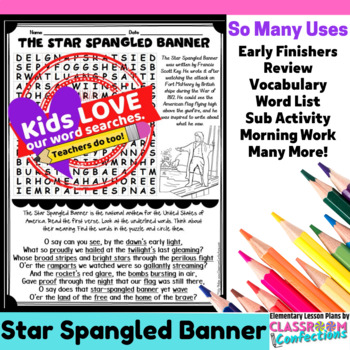 The Star Spangled Banner: Word Search Activity