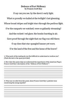 The Star Spangled Banner - Common Core Close Read Activity w key