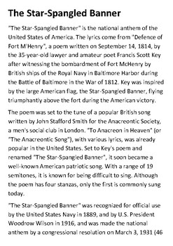 The Star Spangled Banner Handout