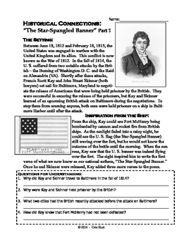 The Star-Spangled Banner - Historical Connections Worksheet Set