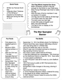 The Star Spangled Banner - Information / Fact Sheet