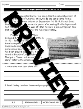The Star-Spangled Banner • Reading Comprehension Passages and Questions • RL I