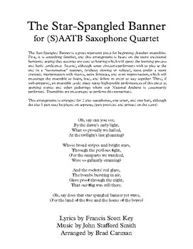 The Star-Spangled Banner for (S)AATB Saxophone Quartet