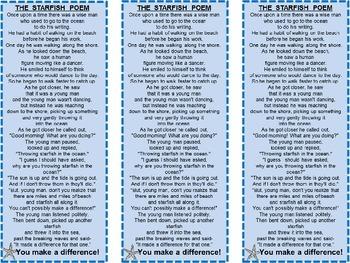 Free! The Starfish Story Bookmark