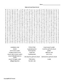 The State and Local Governments Vocabulary Word Search for American Government