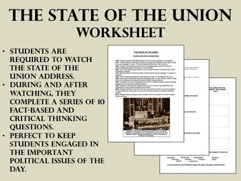 The State of the Union worksheet - US History - APUSH