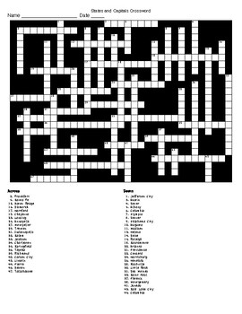 The States and their Capitals A Crossword and a Word Search
