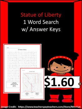 The Statue of Liberty Word Search w/ Answer Key by ...