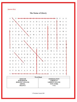 The Statue of Liberty Word Search w/ Answer Key