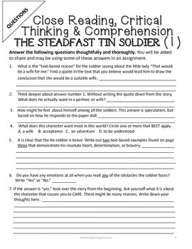 The Steadfast Tin Soldier, Critical Thinking & Writing Activity Pack, Gr. 6-12