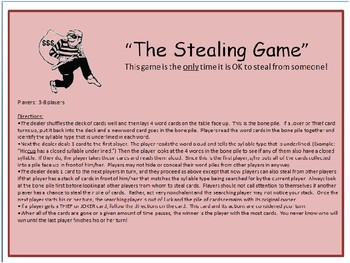 The Stealing Game--Syllable Identification