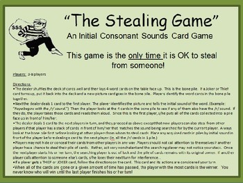 The Stealing Game--initial consonant card game