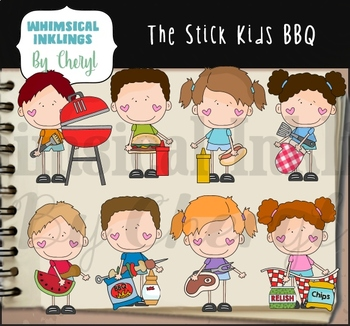 The Stick Kids BBQ Clipart Collection