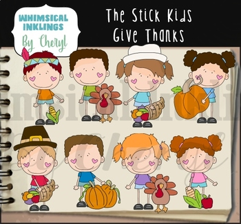 The Stick Kids Give Thanks Clipart Collection