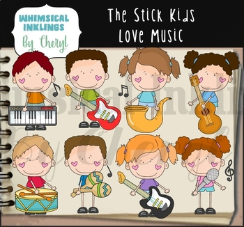 The Stick Kids Love Music Clipart Collection