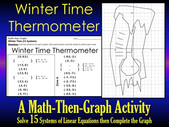 Winter Time Thermometer - A 15 Systems and Coordinate Graphing Activity