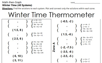 Winter Time Thermometer - A 40 Systems and Coordinate Graphing Activity
