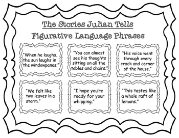 The Stories Julian Tells Literal Language Activity