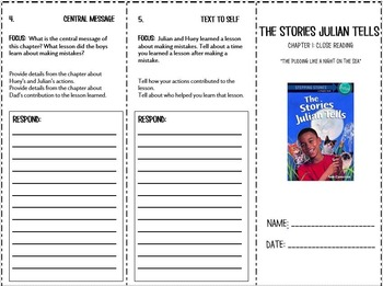 The Stories Julian Tells Trifold Chapter 1: Common Core Aligned