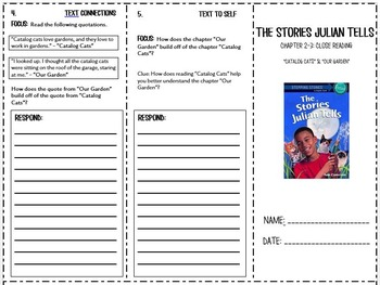 The Stories Julian Tells Trifold Chapters 2-3: Common Core Aligned