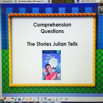 The Stories Julian Tells Ann Cameron- LA Guidebook- Questions flipchart