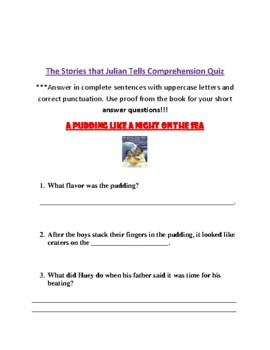 The Stories that Julian Tells- Comprehension Packet