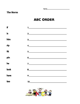 The Storm - ABC order - Journeys Grade 1