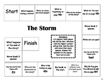 """""""The Storm"""" Comprehension Game Board- Journeys story 1st grade"""
