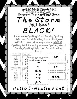 The Storm Journeys First Grade Spelling Wall BLACK Hello D