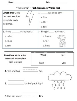The Storm - Vocabulary & Comprehension Test/Quiz (1st Grade Journeys)
