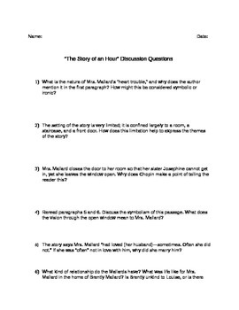 The Storm and The Story of an Hour Discussion Questions and Essay