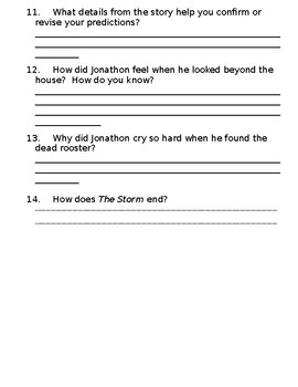 The Storm by Marc Harshman Reading Comprehension Short Answer Questions
