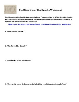 The Storming Of The Bastille- French Revolution-Webquest