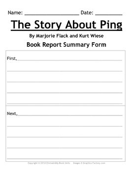 The Story About Ping - Picture Book Study Guide