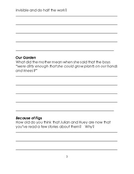 The Story Julian Tells Reading Comprehension Packet