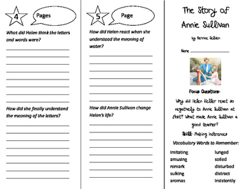 The Story of Annie Sullivan Trifold - Imagine It 5th Grade Unit 6 Week 5