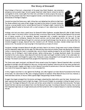 The Story of Beowulf - GCSE Reading Comprehension / Text